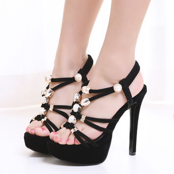 Women Fashion Metal Buckles With Opem Toe Sexy High Heel Weeding Party Sandals 13cm Heel LW-03