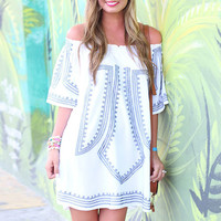 Off-Shoulder Printed Ruffled A-line Dress