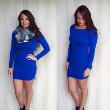 Fitted Piko Tunic Royal Blue