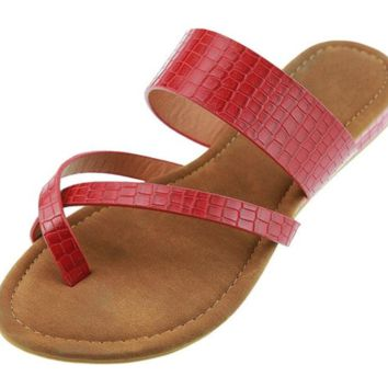 Patent leather strap slip on sandals ~ 5 colors