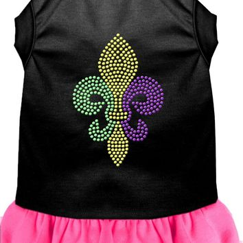 Mardi Gras Fleur De Lis Rhinestone Dress Black With Bright Pink Xl (16)
