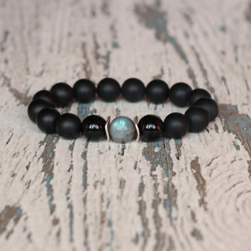 mens bracelet beaded black jewelry gemstone groomsmen gift for him gift for husband birthday gift idea stretch bracelet mens fashion style