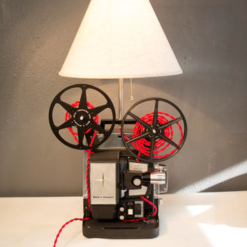 Upcycled Vintage Bell and Howell Projector Lamp