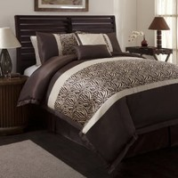 Triangle Home Fashions 18504 Lush Decor 6-Piece Zebra Comforter Set, Full-Size, Taupe/Brown
