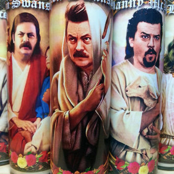 "Ron Swanson Candle Parks and REcreation  - 8""  Celebrity Tribute Candle -  Heavenly geekery"