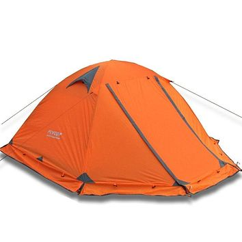 Flytop camping tent outdoor 2 people or 3perons double layer aluminum pole anti snow outdoor family tent with snow skirt