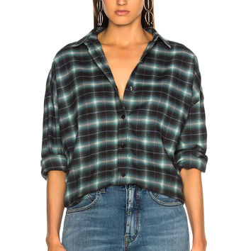 Adaptation Dropped Shoulder Shirt in Teal Plaid | FWRD