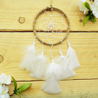 Soft White Dreamcatcher: Small Dreamcatcher, Boho Dreamcatcher, Boho Car Accessory For Women, Sweet Sixteen Gift, Rearview Mirror Charm