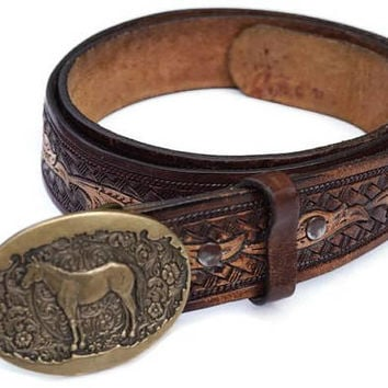 Vintage Tooled Leather Belt,Horse Buckle,Award Design Medals USA,Size 42 Mens Brown Belt,Snap Belt,Jeans Belt,Southwestern Style Cowboy Belt
