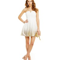 B. Darlin Strapless Foil Lace Party Dress | Dillards