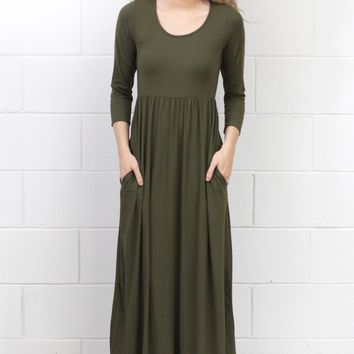 Best Suedette Maxi Dress Ever {Olive}