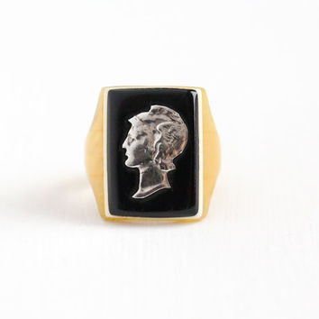 Vintage Silver Mercury Dime Coin & Butterscotch Yellow Lucite Ring - 900 Silver Size 7 Currency Cameo Black White Early Plastic Jewelry