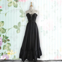 Vintage black corset layered dress-gothic - steampunk, Strapless dress