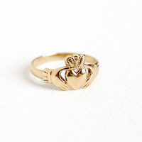 Vintage 9k 375 Rosy Yellow Gold Claddagh Irish Ring - Size 7 1/4 Made in Dublin Ireland Hands Heart Crown Fine Wedding Band Fine Jewelry