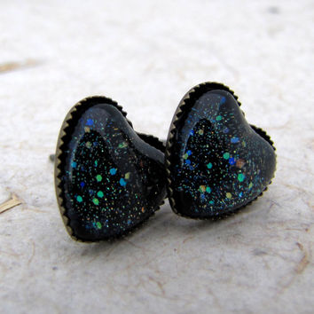 Heart Earrings - Black Sparkle Post Earrings - Antiqued Brass Posts - Galaxy Sparkle Earrings