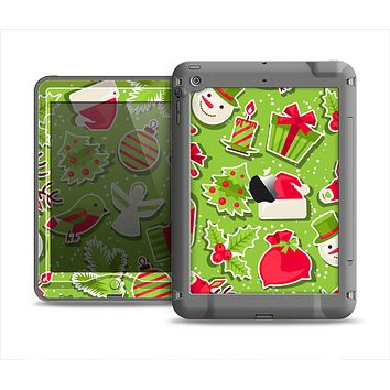 The Red and Green Christmas Icons Apple iPad Mini LifeProof Nuud Case Skin Set