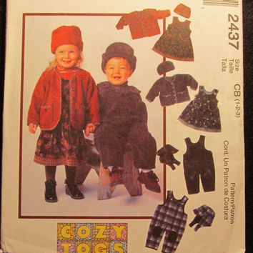 SALE Uncut 1999 McCall's Sewing Pattern, 2437! 1-2-3 Infant/Toddlers/Caps/Hats/Jumper Dress/Jackets/Overalls with Reversible Hat/winter Clot