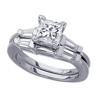 Engagement Ring - Princess Diamond Engagement Ring with Tapered Baguette Diamond Accents & Matching Wedding Band, 0.40 tcw. In Platinum - ES171WGPRBSPL