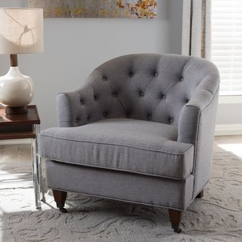 Baxton Studio Jilian Modern and Contemporary Light Grey Fabric Upholstered Walnut Wood Button-Tufted Armchair Set of 1