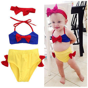 3/PCS set Baby Girls Snow White Bikini Set Swimwear Swimsuit Bathing Costume Summer Beach With Headband
