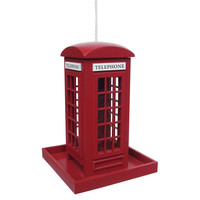 "8.75"" Telephone Booth Birdhouse, Acrylic / Lucite, Feeders, Houses & Bird Baths"