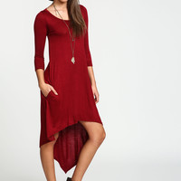 Long Sleeve Tee Slip Dress with Pockets