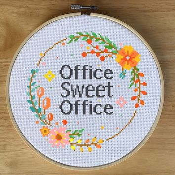 Office Sweet Office Cross Stitch Pattern - Flower Wreath Quote
