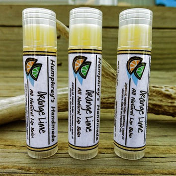 Orange Lime Lip Balm Flavor, Funny All Natural Bee Balm with Jojoba Oil, Cocoa Butter, Vitamin E, Essential Oils