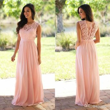 Sexy Long Chiffon Lace Bridesmaid Dresses Pink Sage Wedding Party Dresses Country Bridesmaid Gowns Vestidos de casamento madrin