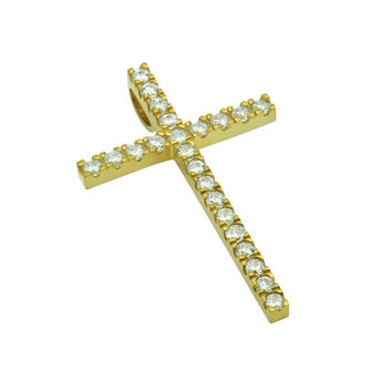 """Sterling Silver Pendant Small Gold Tone Cross CZs Made in USA (Free 18"""" Chain)"""