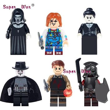 Single The Horror Theme Movie Halloween Nun Sinter guy fawkes mask Dexter Morgan Creepy Doll building blocks toys for children