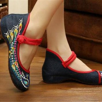 Chinese Embroidered Floral Shoes Women Ballerina Mary Jane Flat Ballet Cotton Lo