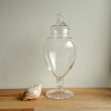 Apothecary Jar / Glass vase with lid / glass display jar / shabby chic / Boho Home /Halloween display / Christmas Display / flowers / candy