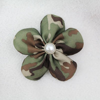 Camo Flower Hair Bow  Camo Hair Clip Flower by SweetestBugBows