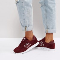 New Balance 373 Suede Trainers In Burgundy at asos.com