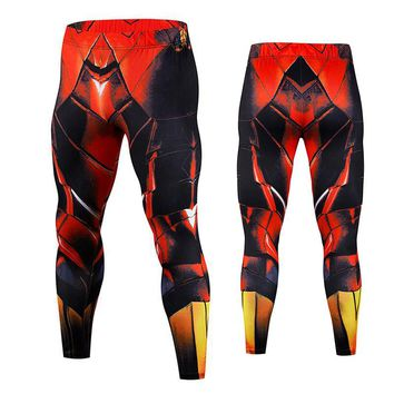 Iron Man Mens Run Skinny Sweatpants Compression Pants Legging Jogger Men 3D Printed Bodybuilding Pants Spider-Man Elastic Trouse