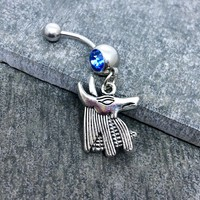 Egyptian Anubis 14 gauge stainless steel belly button navel rings, body jewelry, 14g