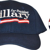 Hillary For President Hat & Button Combo (Navy)Hillary Clinton