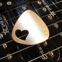 Love Guitar Pick in Bronze with Heart Cut Out - playable