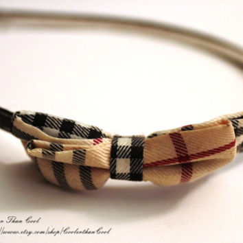 Burberry Inspired Striped Fabric Elegant boutique Headband with black Artificial leather