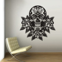 Wall Vinyl Sticker Decals Decor Bedroom Art Skull Roses Rose (z3140)