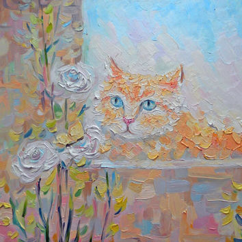 Cute Cat Nature Flowers Pastel Oil Painting Home decoration Wall Kitty Nursery Art Summer Animal Interior Decor Modern Art
