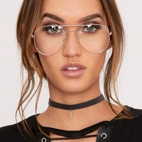 Kennie Rose Gold Clear Lens Aviators