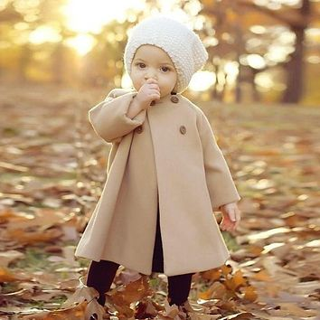 Autumn Winter Girls Kids Baby Outwear Cloak Button Jacket Warm Coat Clothes