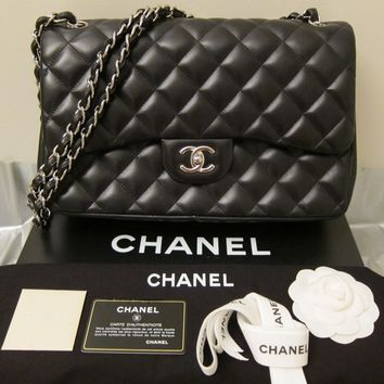 CHANEL Black Lambskin Jumbo Double Flap Silver Toned Hardware Shoulder Bag