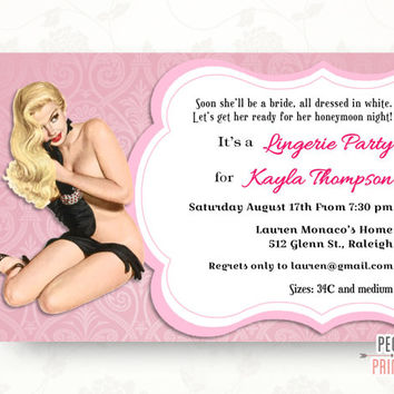 Lingerie Shower Invites (Printable) Lingerie Party Invitation - Pinup Girl Bachelorette Party Invitation