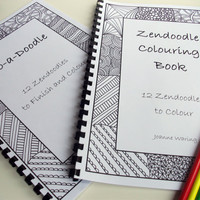 Set of 2 Doodle and Coloring Books Zendoodle Patterns by JoArtyJo