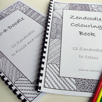 Set of 2 Printable Doodle and Coloring Books Zentangle Inspired, by JoArtyJo