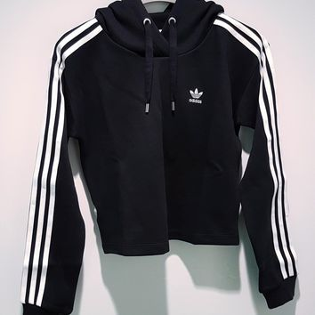 Adidas Classic Three Stripe Black Cropped Hoodie One-nice™