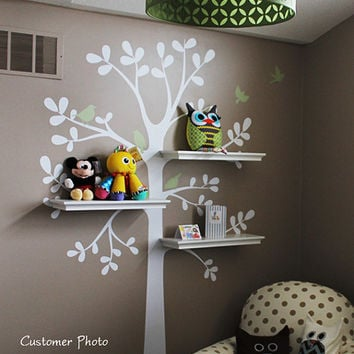 kids wall decal - The ORIGINAL Shelving Tree with Birds - Tree Wall Decal - Shelving tree decal - wall decal - baby nursery decal
